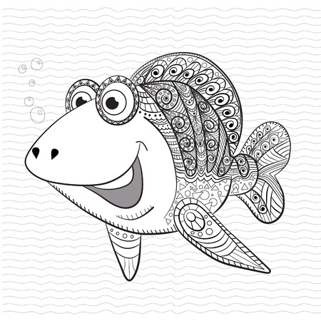 funny fish: Antistress coloring book for adult and children. Funny fish.