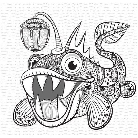 angler: Antistress coloring book for adult and children. Funny angler fish.