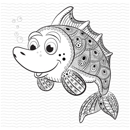 horse fish: Antistress coloring book for adult and children. Funny fish.