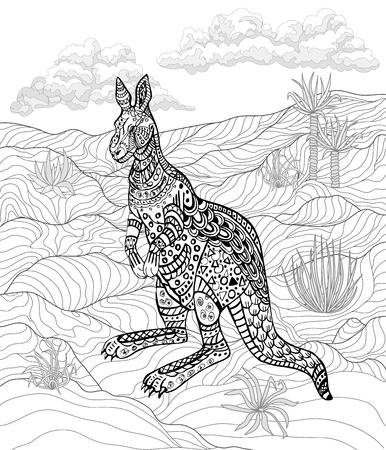 Dibujado A Mano Canguro Tinta Para Relajarse Y Meditación ...