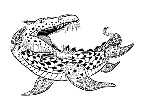 Underwater reptile monster. Antistress Coloring Book for adults.