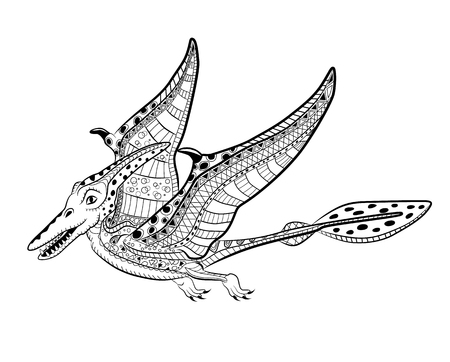 Pterodactyl - prehistoric monster. Antistress Coloring Book for adults. Illustration