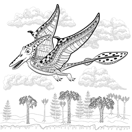 Pterodactyl - prehistoric monster in nature. Antistress Coloring Book for adults.