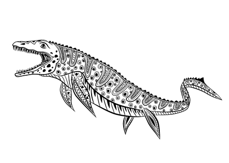 Mosasaurs - prehistoric reptile monster. Antistress Coloring Book for adults