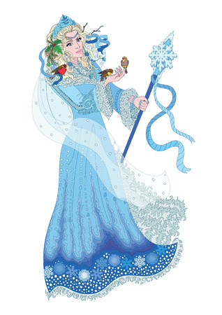 Winter Lady in the crown and decorated with a fur coat holding a staff. In her hand sitting birds. Illustration