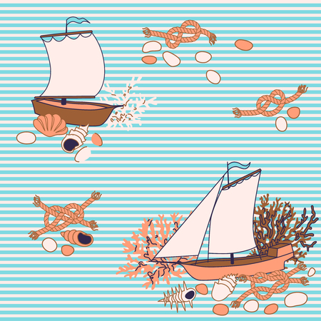 Striped Seamless pattern - marine life with sailboats, shell, coral and ropes.