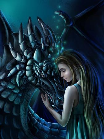 romance: Magic illustration - the Girl and the Dragon. Stock Photo