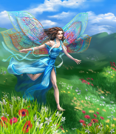 field flowers: Fantasy illustration. Happy girl with fairy wings dragonflies in blue long dress runs on meadow flower against the wind. Stock Photo