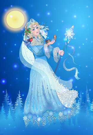 snow maiden: Winter Lady in the crown and decorated with a fur coat holding a staff. In her hand sitting birds. Illustration