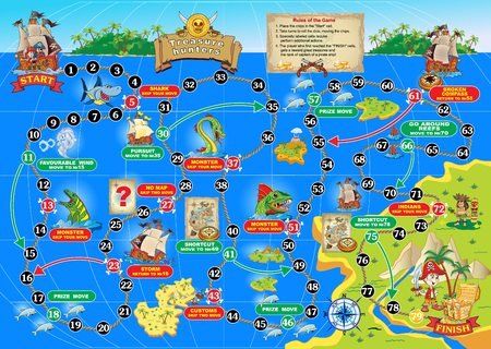 illustration of board game for children. Treasure hunters. Spend a pirate ship on the ocean route and get the treasure chest. Stock Illustratie