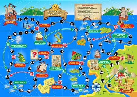 Ilustración de juego de mesa para niños. Cazadores de tesoros. Pasa un barco pirata en la ruta del océano y obtener el cofre del tesoro.