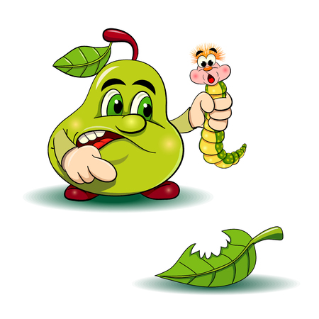 cartoon illustration. Angry pear caught the pest-worm. Pear shows on the bitten off sheet.