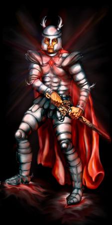scheide: Fantasie-Illustration. Ritter in der Metallrüstung zieht das Schwert aus der Scheide. Lizenzfreie Bilder