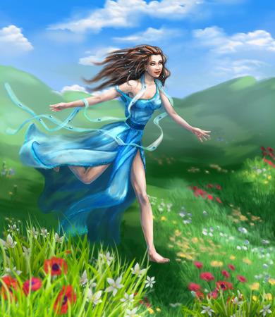 field flowers: Fantasy illustration. Happy girl in blue long dress runs on meadow flower against the wind.