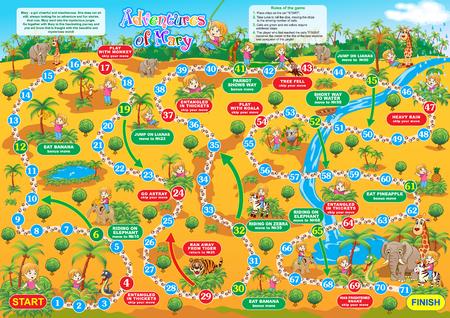 Vector illustratie van bordspel voor kinderen. Avonturen van Mary. Reis in de jungle? Samen met Maria en nieuwe vrienden maken.