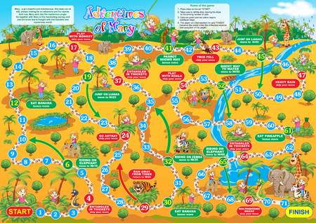 Vector illustration of board game for children. Adventures of Mary. Travel in the jungle?together with Mary and make new friends.