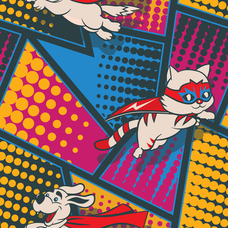 Seamless pattern with funny cartoon cats and dogs superheroes and superhero elements.