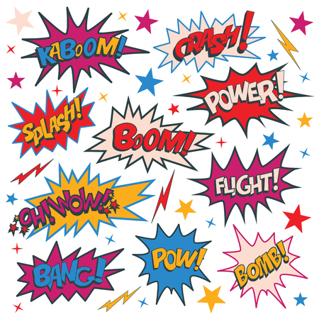 Funny cartoon superhero elements: kaboom, crash, power, splash, boom, wow, flight, bomb, pow, bang.