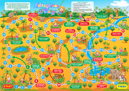 Vector illustration of board game for children. Adventures of Mary. Travel in the jungletogether with Mary and make new friends.