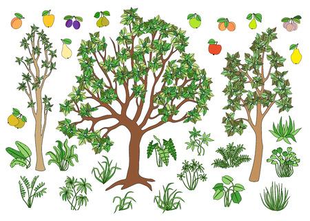 bushes: Set elements for your landscape: trees, bushes, grass, fruit.