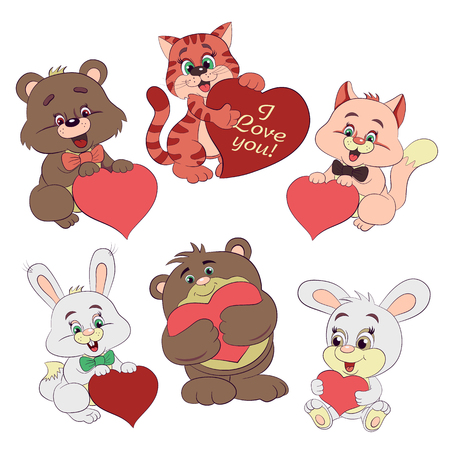 Cartoon merry rabbits, kittens and bears with heart. Illustration