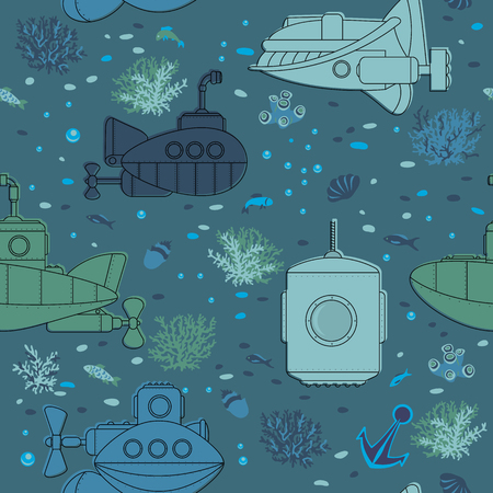 Seamless pattern. Submarines and underwater life of sea.
