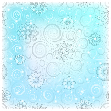 Light blue pattern with floral ornament illustration.