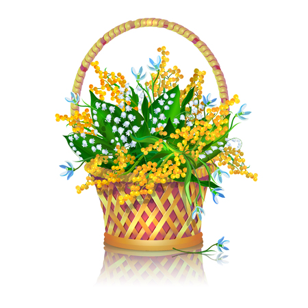 Basket with a bouquet of spring flowers: snowdrops, mimosa and lilly valley.