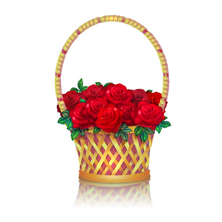 Basket with a bouquet of red roses white background.
