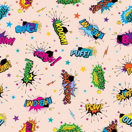 Funny cartoon superhero elements seamless pattern.