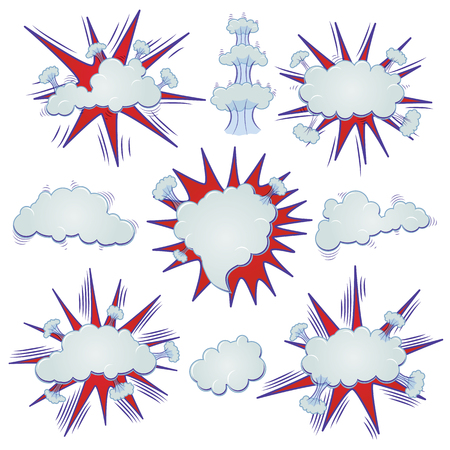Funny cartoon superhero elements: different clouds for speech. Illustration