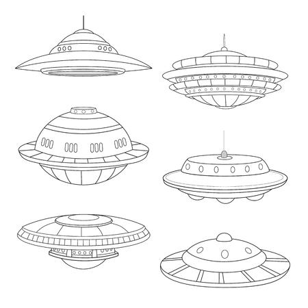 Set of flying saucers line art white background. Ilustração