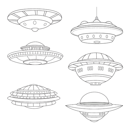 Set of flying saucers line art white background. Vettoriali