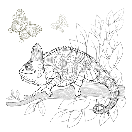 Hand drawn decorative chameleon is sitting on a tree branch near the butterflies fly. Anti-stress coloring page with high details, isolated on pattern background, illustration.