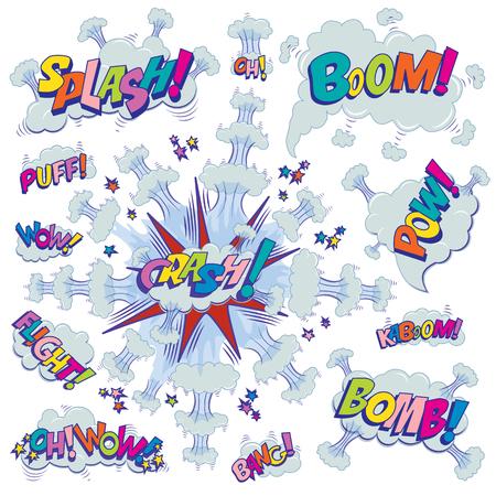 Funny cartoon superhero elements: crash, boom, pow, bomb, wow, flight, kaboom, oh, bang, puff. Illustration