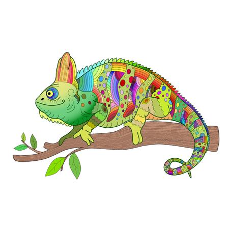 Hand getekend decoratief kameleon zit op een boomtak vectorillustratie.