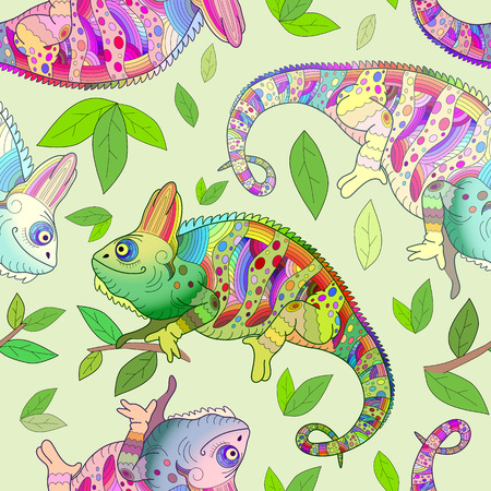 Multicolored funny chameleons among green foliage seamless pattern.