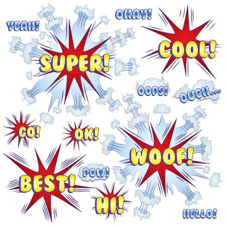 Funny cartoon superhero elements: yeah, okay, ouch, best, pow, woof, cool, hello, oops, ok, go.