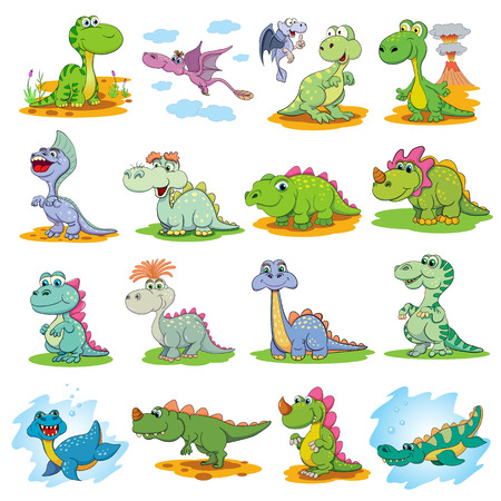 Set of funny cartoon dinosaurs. Earth, water and air ancient reptiles white background.