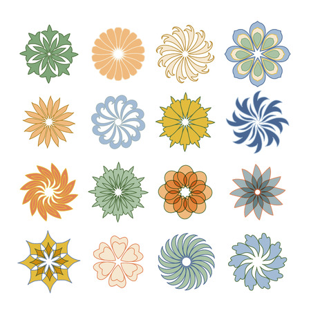 Set of color vintage decorative icon of flowers. Illustration