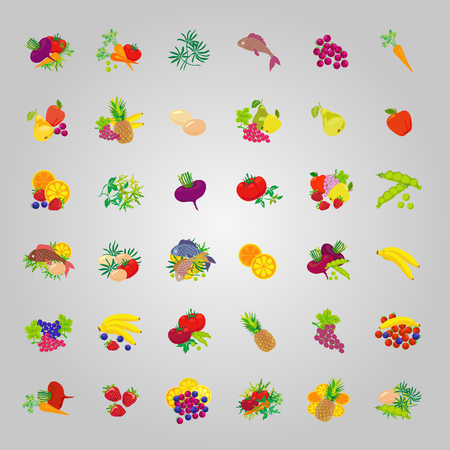 Set of icons of diet food: fruits, vegetables, fish, greens. Illustration