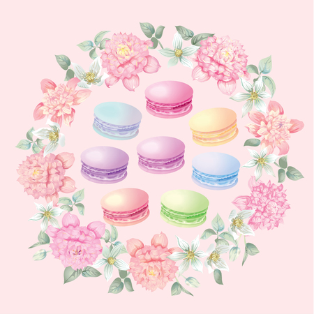 Flowers and macaroons wreath background for postcards vector illustration.