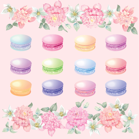 Flowers and macaroons background for postcards vector illustration.
