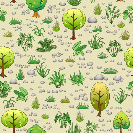 Natural seamless pattern with trees, grass and stones. Illustration