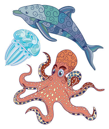 Jellyfish, octopus and dolphin with ornaments on the body vector illustration.