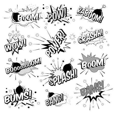 Cartoon pop art elements typography includes crash, boom, pow, bang, wow, bams, splash, power, bums in black and white illustration.