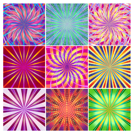 A set of colorful bright festive backgrounds for your designs. Illustration