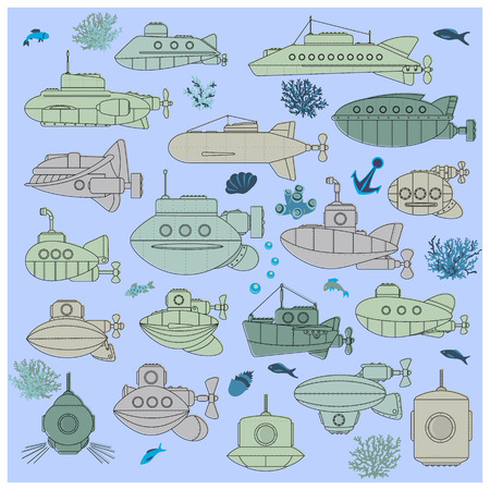 Set of submarines and underwater life of sea.