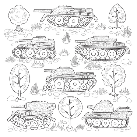 Set of tanks with camouflage and elements of nature; trees, stones, grass coloring page.