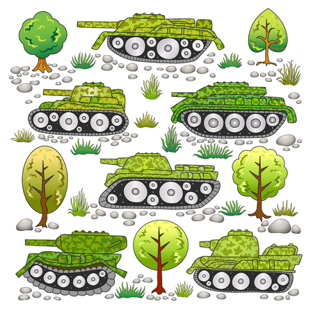 Set of tanks with camouflage and elements of nature; trees, stones, grass.